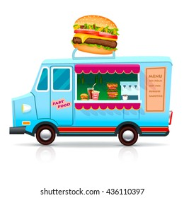 Fast Food Trailer with burger Isolated on white. Street food car, mobile kitchen,restaurant