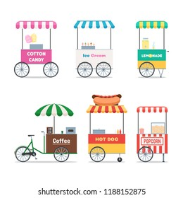Fast food trolley symbols set. Street selling Coffee, Ice cream, Hot dog, Cotton candy, Popcorn, lemonade. Vector illustration in flat style isolated on white background