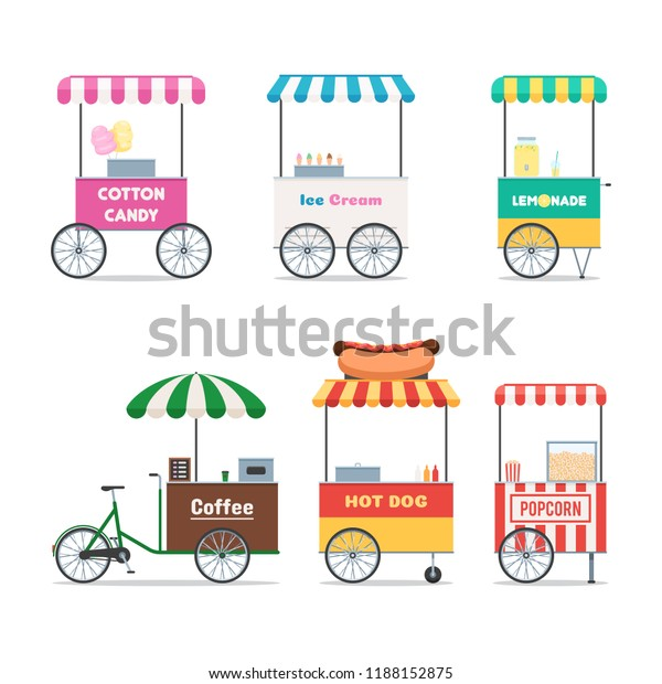 Fast Food Trolley Symbols Set Street Stock Vector (Royalty