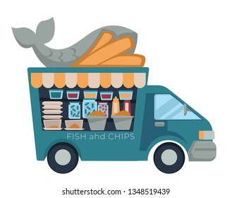 Fast food truck fish and chips isolated vehicle vector car street meals and dishes transport snack seafood and french fries cardboard lunch boxes takeaway van sauces and pickles unhealthy nutrition