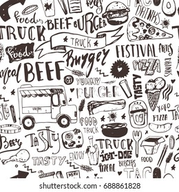 Fast food truck Seamless pattern with lettering and doodle items. Vector festival background for menu, wrapping.