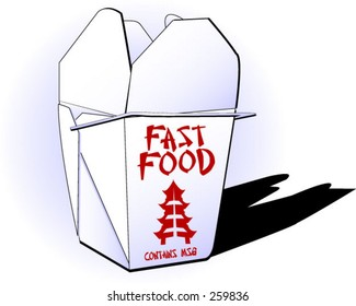 Fast food vector (chinese take-away container, origami style, illustrating fast food concept...contains msg)