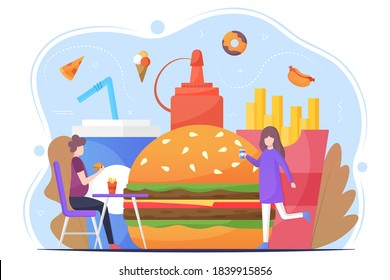 Fast food vector flat illustration. Tiny man and woman interacting with fast food. Unhealthy food concept design.