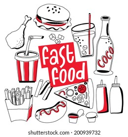 fast food vector: hamburger, soda, hot dog, pizza, sauce, chicken
