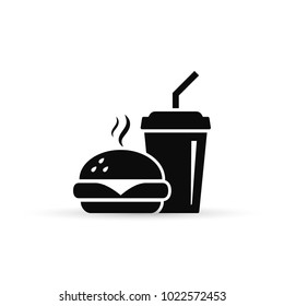 Fast Food Vector Icon. Burger and soda or cola drink silhouette, isolated symbol.