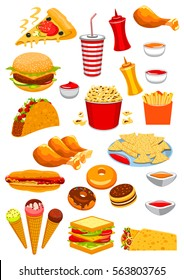 Fast Food vector icons of hamburger, cheeseburger, sandwich, hot dog and ice cream, pizza and popcorn, chicken leg and french fries, tacos, burrito, nachos chips and ketchup, burger, soda and donut