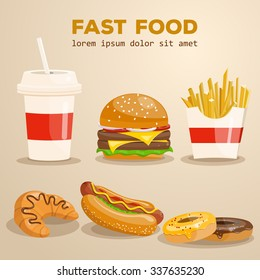 Fast food vector illustration. Burger, fried potato, hot dog, coffee, cola, sandwich, croissant, donut. Food collection.