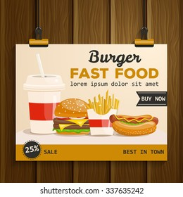 Fast food vector illustration. Burger, fried potato, hot dog, coffee, cola, sandwich. Food collection.