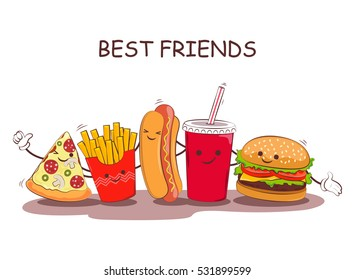 Fast food. Vector illustration of fast food. Cute best friends picture with the image of fast food. Image fast food in vintage style.