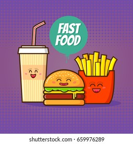 Fast food vector illustration.Funny cola,burger and french fries in cartoon style on a violet background.