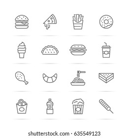 fast food vector line icons, minimal pictogram design, editable stroke for any resolution