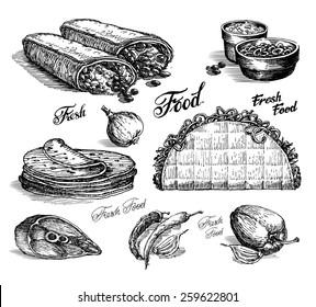 fast food vector logo design template. burritos or tacos icon.