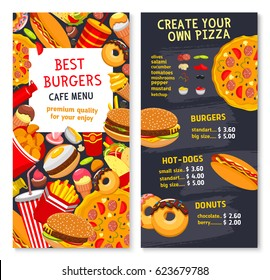 Fast food vector menu card with prices for burgers, pizza or hot dogs and donuts. Fastfood restaurant meals of burgers, french fries snacks and chicken grill meals, sandwich and with ice cream dessert
