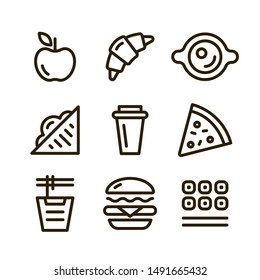 Fast food vector outline icons set: apple, croissant, sandwich, coffee, drink, pie, pizza, noodles, burger, rolls, sushi.