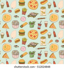 Fast food vector pattern