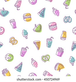 Fast food vector seamless pattern