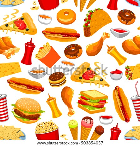 Fast Food Vector Seamless Pattern Snacks Stock Vector Royalty Free