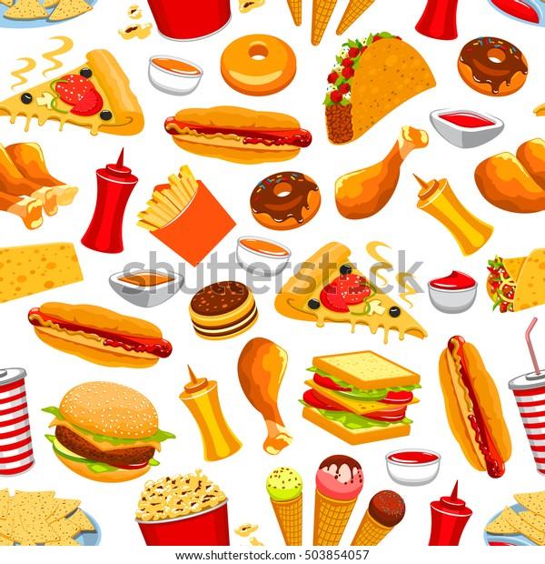 Fast Food Vector Seamless Pattern Snacks Stock Vektorgrafik