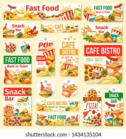 Fast food vector tags with junk meal and drink. Pizza, hamburger and hot dog, fries, soda and chicken nuggets, coffee, ice cream and popcorn. Fast food restaurant, cafe, pizzeria and snack bar design