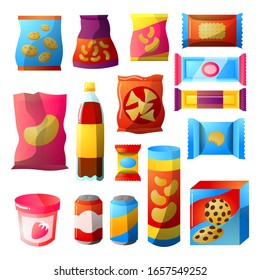 Fast food, Vending products packages design set. Vector illustration in the flat cartoon style.