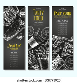 Fast food vertical banner set. Pizza, hamburger and french fries collection. Vector illustration, linear graphic drawn. Fast food menu design