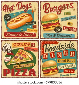 Fast food vintage vector poster collection.Retro Diner,burger,hot dog,pizza metal sign.
