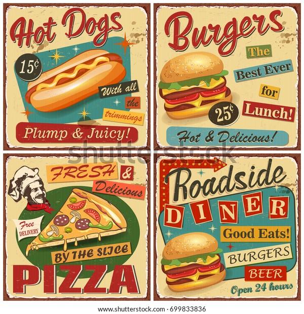 Фаст-фуд старинные вектор плакат коллекции.Ретро закусочная, бургер, хот-дог, пицца металлический знак.
