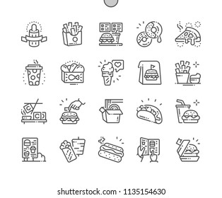 Fast Food Well-crafted Pixel Perfect Vector Thin Line Icons 30 2x Grid for Web Graphics and Apps. Simple Minimal Pictogram