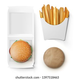 Fast Food White Paper Burger And French Fries Take Away Box Package. EPS10 Vector