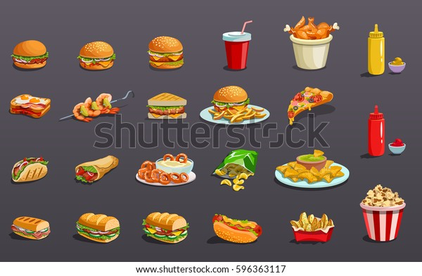 Fast food without contour. Icons set