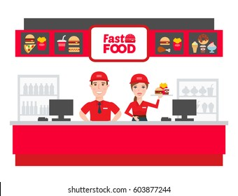 fast food worker man and woman in uniform
