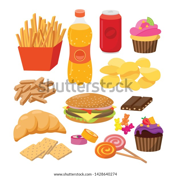 Fast foods vector flat illustration. Group of snacks, hamburger, french fries, soft drinks, croissant, crackers, sweets, chocolate, candies, popular junk food isolated on white background.