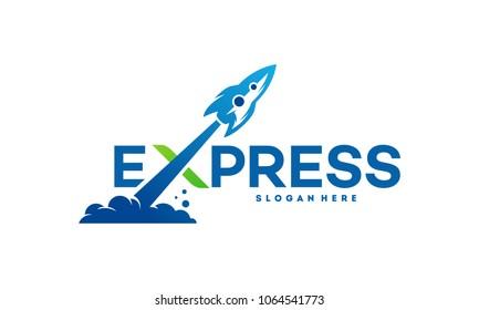 Fast Forward Express logo designs vector, Modern Express logo template, Express logo with Rocket Symbol