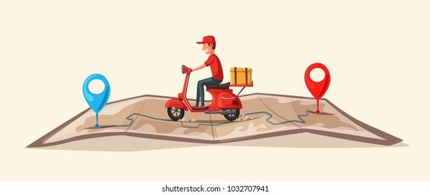 快速且免費的摩托車送貨。 向量卡通插圖。 餐飲服務