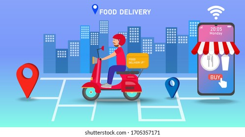 Fast and free delivery by scooter on mobile. Food delivery app on a smartphone tracking a delivery man on a moped with a ready meal. City skyline in the background. Vector, illustration.