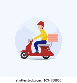 Fast and free delivery. The guy on the moped is carrying pizza. Food service.