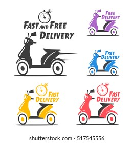 Fast and free delivery. Vector cartoon illustration. Vintage style. Food service. Retro bike. Icon, logo, design elements