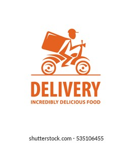 Fast and free delivery. Vector cartoon illustration. Bike. Icon, logo, design elements
