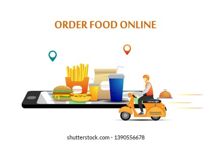 Fast and free Food delivery service, order food online with smartphone can use for landing page template design, web page, app, mobile application vector illustration