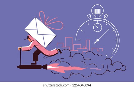 Fast free home delivery. Courier on roket carries a parcel in a big city. Vector illustration