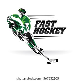 Fast Hockey Logo Sign Symbol Illustration