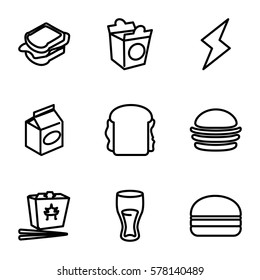 fast icon. Set of 9 fast outline icons such as burger, drink, chinese fast food, sandwich, take away food