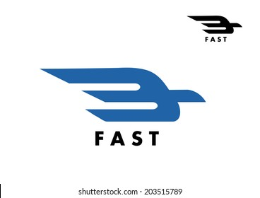 Fast icon with a stylized bird logo in flight with trailing wings for delivery, air mail or transportation industry icon