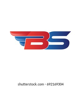 fast initial letter BS logo vector wing