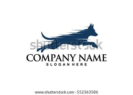 vetor stock de fast jumping dog logo vector dog livre de direitos