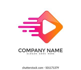 Fast Media Quick Play Logo Design Template