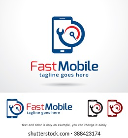 Fast Mobile Logo Template Design Vector