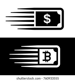 fast money bitcoin motion line banknote vector - illustration