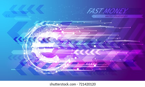 Fast money concept. Euro coin in the form of a starry sky or space, consisting of points, lines, and shapes in the form of planets, stars and the universe. Shotgun vector wireframe. Blue purple