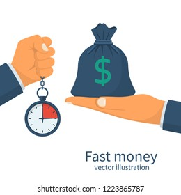 Fast money. Granting a loan in a short time. Bag of money and stopwatch in hand. Quick simple credit. Business and finance services. Timely payment, financial solution Vector illustration flat design